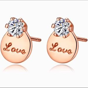 Jewelry - Rose Gold Plated 925 Solitaire Love Earrings